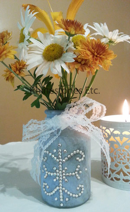 Finished rhinestone embellished vase