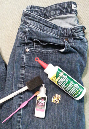 Supplies needed to embellish jeans