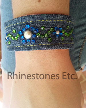Rhinestone and denim cuff bracelet