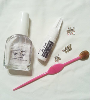Supplies needed for DIY rhinestone nails