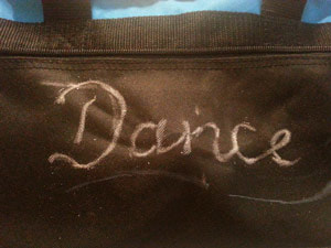 Chalked areas to rhinestone in dance bag