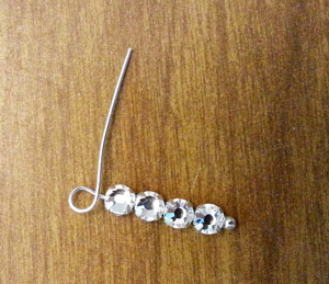 Making a loop on head pin on rhinestone earrings