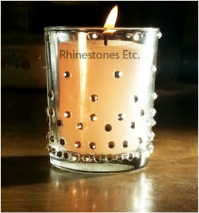 Rhinestone embellished candle holder