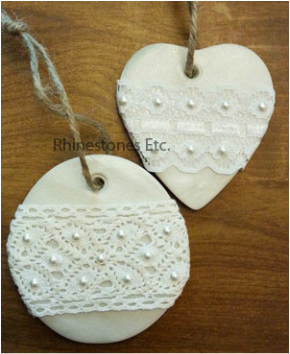 Pearl and lace rustic Christmas ornaments