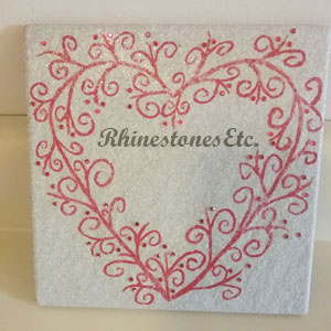 Painted ceramic tile with rhinestones