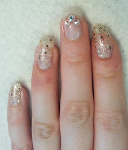 Gluing rhinestones to nails