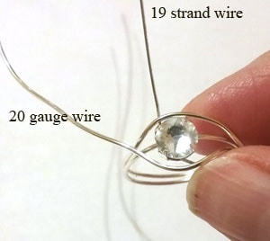 Wire wrapping the crystal rhinestone ring