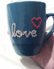 Finished rhinestone embellished coffee mug