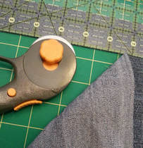 Cutting denim to a 7 by 1.5 inches size