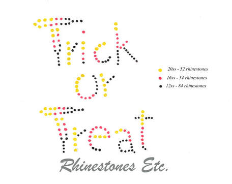 Trick or Treat Halloween Rhinestones Template