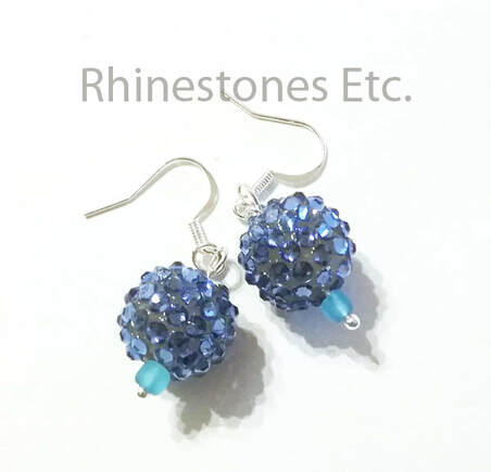 Earrings made with pave beads
