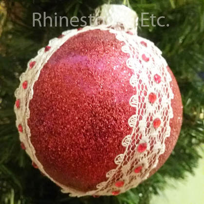 DIY Christmas ornament made with lace and rhinestones